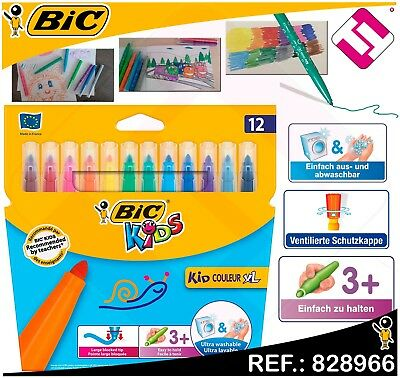 Pack Blister 12 Rotuladores Bic Kids Colores Gruesos Xl Ultra Lavable Washable