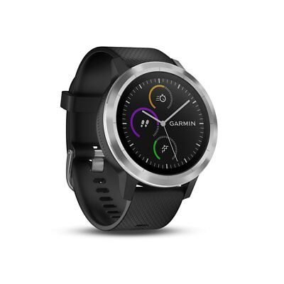 Garmin Vivoactive 3 Black silicone, Stainless steel Activity Tracker/ One Size