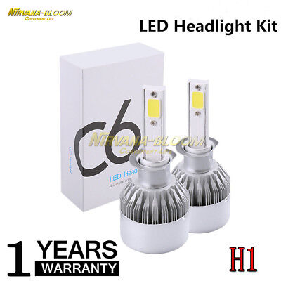 2PCS H1 110W 32000LM COB C6 Car LED Headlight Bulbs Conversion Kit 6000K White