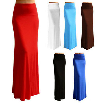 Women Party Solid High Elastic Waist Foldover Long Jersey Maxi Skirt Dress