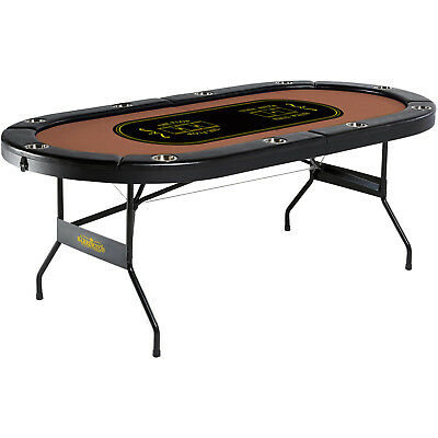 Barrington Casino Poker Table Folding 10-Player With Built-in Cup Holder Metal