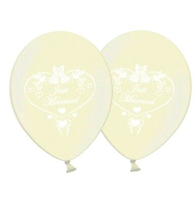 """12/"""" Printed Silver Latex Balloons Pack of 8 Just Married Dove"""