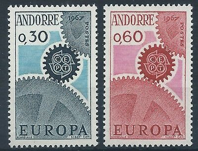 FRENCH ANDORRA 1967 SG F199-200 Europa CEPT Cogs Set Mint MNH