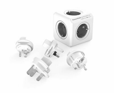 allocacoc PowerCube ReWirable Travel Plugs GRAU, Reiseadapter & 5x Verteiler, 23