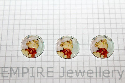 2 x Winnie the Pooh 12x12mm Glass Dome Cabochon Cameo Bear Honey Piglet