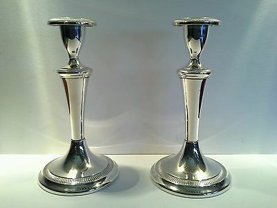 Vintage Art Deco Silver Plated Candlestick Holders