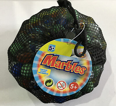 Net Bag Of 200 Glass Marbles - Sv11451 Classic Traditional Large Small Kids Game
