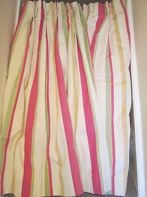 1 Pair ( 2 curtains  )of  Good quality lined pinch pleat awning stripe curtains