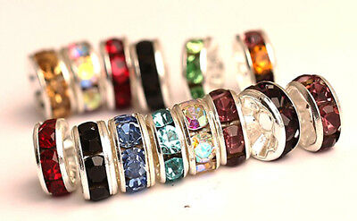 Rhinestone Crystal Spacer Beads 8mm Assorted Colours and Quantities Craft DIY