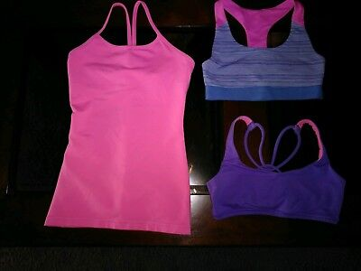 Ivivva 3 pc lot pink Y tank 2 bras - all size 12