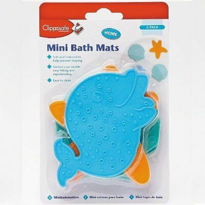 Clippasafe Mini Bath Mats Sea Animal Designs Shower Safety (6 Pack)