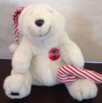 "Coca Cola Polar Bear 12"" Plush Red & White Hat Candy Cane Christmas 1993"
