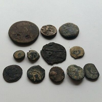 A3 Lot of 12 ancient Greek Roman Nabatean Seleucid Judaean Byzantine coins