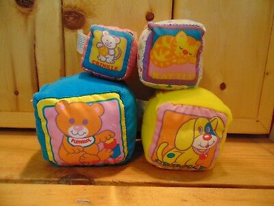 Vntage Playskool Touch Ems Baby Soft Stacking Blocks Washable 1990