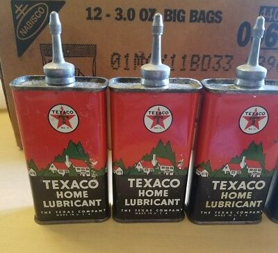 Vintage Lead Top Texaco Home Lubricant Handy Oiler / Tin / Can NOS Full
