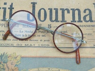 Antique 1900s/1920s French  faux tortoise round eyeglasses