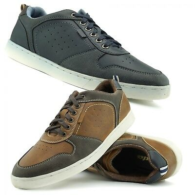 Mens Leather Trainers Smart Casual Office Work Lace up Tan Navy Comfort Sizes