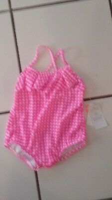 NWT! Girls 18 Months Carter's Brand Hot Pink/White Gingham 1 Piece Bathing Suit
