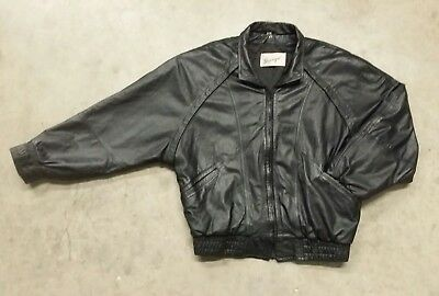 Genuine Black Leather Motorcycle Bomber Jacket Mens Size Small