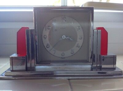 Art Deco Chrome And Red Bakelite Eight Day Mantle Clock