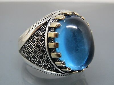Turkish Handmade Jewelry 925 Sterling Silver Aquamarine Stone Men's Ring Sz 9,5