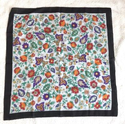 Womens Floral Scarf Wrap Polyester Black Border Multicolor Made in Italy