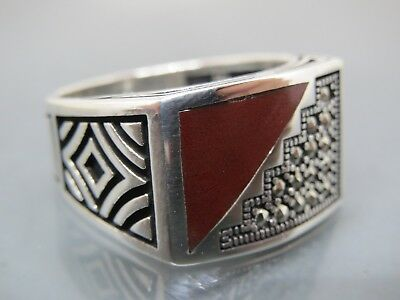 Turkish Handmade Jewelry 925 Sterling Silver Enamel Design Men's Ring Sz 10,5
