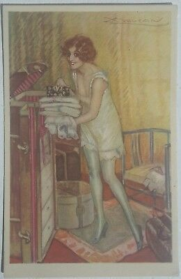 Art Deco Glamour, Woman in Stockings / Lingerie, by MAUZAN, Risque, c.1920