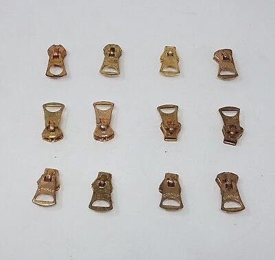 *Lot of 12* Conmar Zipper Slider Solid Brass New Vintage Metal Made in the USA!