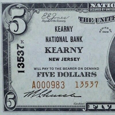 1929 $5 National Bank Note ✪ The Kearny National Bank ✪ Nj 13537 Type 2◢Trusted◣