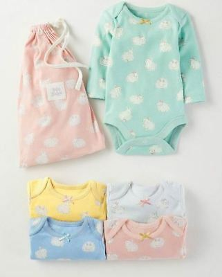 Ex Baby Boden Girls 3 or 2 Pack Bunny Rabbit Bow Bodysuits Vests Age12/18 Mths