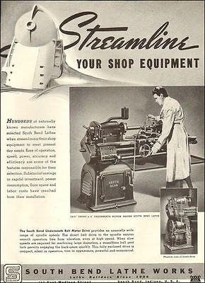 1941 vintage AD for Lathes SOUTH BEND LATHE WORKS Cutaway view 072417