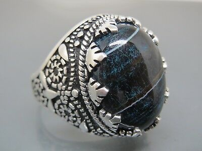 Turkish Handmade Jewelry 925 Sterling Silver Agate Stone Men's Ring Sz 10,5