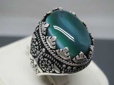 Turkish Handmade Jewelry 925 Sterling Silver Agate Stone Men's Ring Sz 9