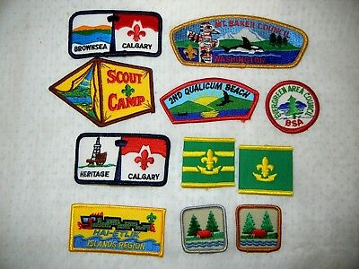 BOY SCOUT BSA LOT of  PATCHES WOGGLES X eleven (11) SCOUTS CANADA & USA