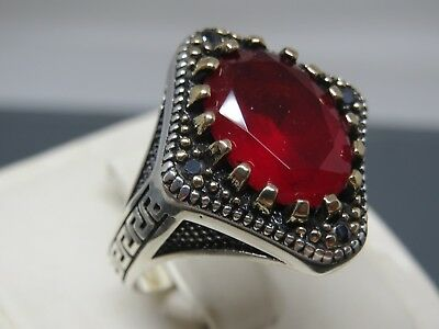 Turkish Handmade Jewelry 925 Sterling Silver Ruby Stone Men's Ring Sz 12