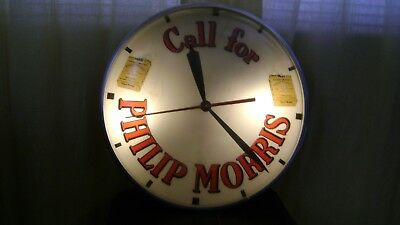 Vintage Philip Morris Cigarette Large Advertising Clock Original
