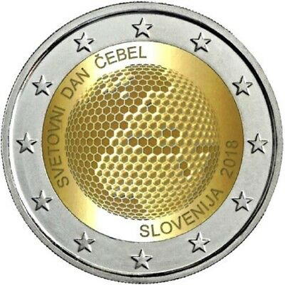 "2 Euro Commemorative Coin SLOVENIA 2018 ""World Bee Day"" Unc."