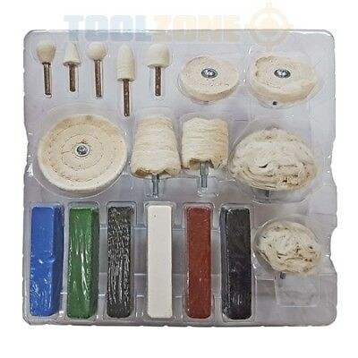 18pc Polishing Buffing Kit Aluminium Steel Brass Plastic Compound for Drill