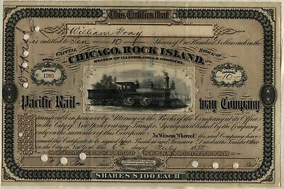 1880 Chicago, Rock Island & Pacific Railway Company Stock Certificate