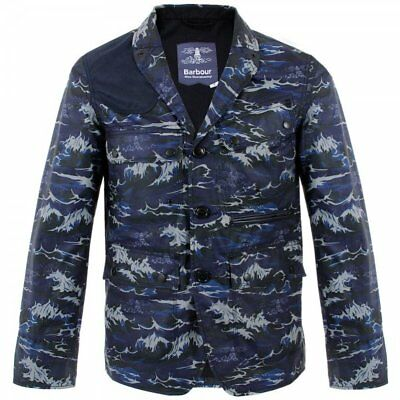 $650 BARBOUR X WHITE MOUNTAINEERING Wave Print Lapel Jacket Blue Waxed Cotton S
