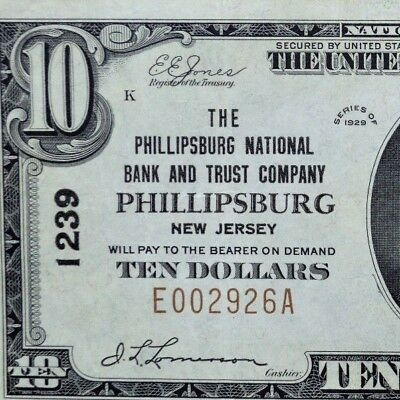 1929 $10 National Bank Note ✪ The Phillipsburg Nb&tc ✪ Nj 1239 ◢Trusted◣