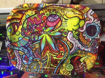 """Multi-colored psychedelic Tobacco Herb Rolling Tray 7""""x5.5"""" *Authorized Dealer*"""