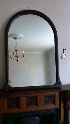 Beautiful Large Victorian Mahogany Over-Mantle Mirror / Arch Shape Mirror