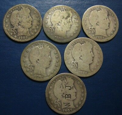 Barber 25c Lot Raw Circulated 6 Coins