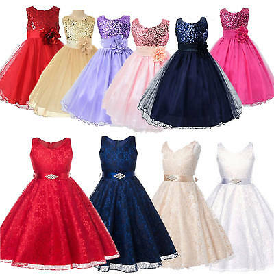 Kids Baby Flower Girls Party Sequin Dress Wedding Bridesmaid Pageant Prom Dress