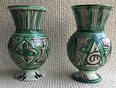 Pair of Vintage Spanish Pottery Punter Vases 21.5cms High both signed to base