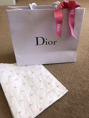 Dior Medium Gift Bag With Tissue Paper & Pink Ribbon in grain effect, grey text