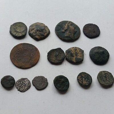 A8 Lot of 14 ancient Greek Roman Nabatean Islamic coins Bronze + Silver