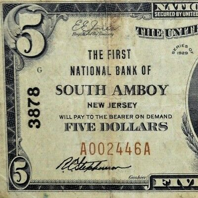 1929 $5 National Bank Note ✪ 1St Ntl Bank Of South Amboy ✪ Nj 3878 ◢Trusted◣